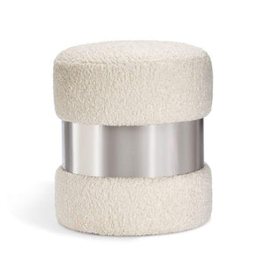 Interlude Home Interlude Home Scarlett Stool - Polished Nickel & Cream 188161