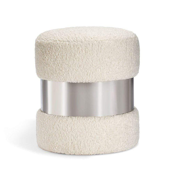 Interlude Home Scarlett Stool in Cream Boucle and Nickel