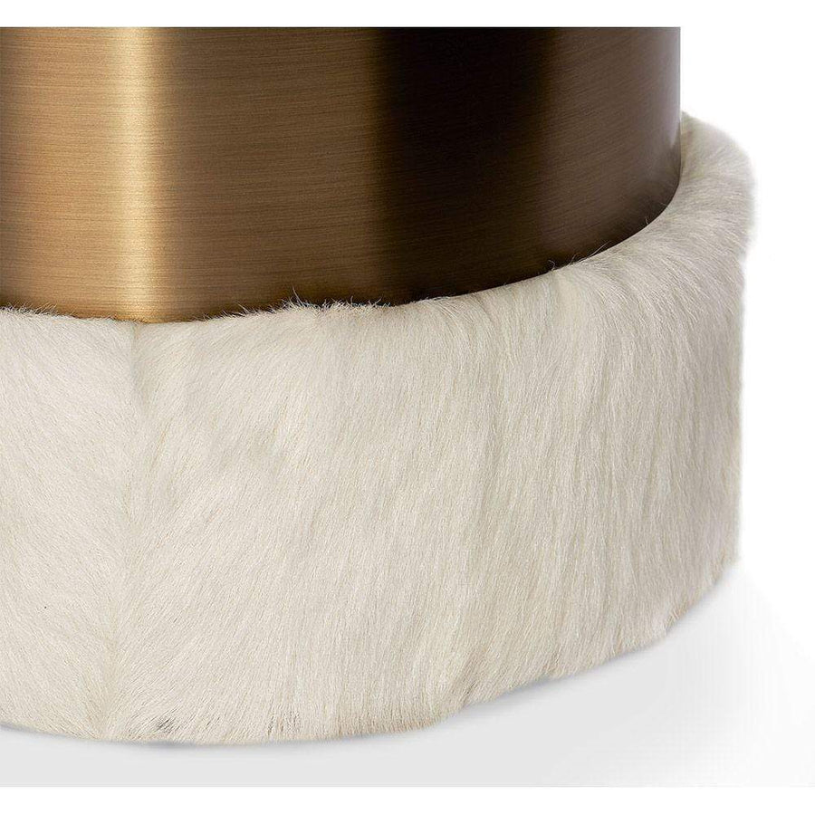 Interlude Home Scarlett Stool in Ivory Goat Hair and Bronze