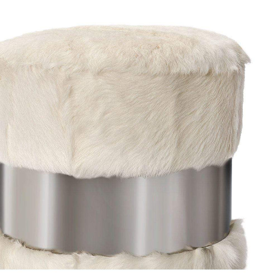 Interlude Home Scarlett Stool in Ivory Goat Hair and Nickel