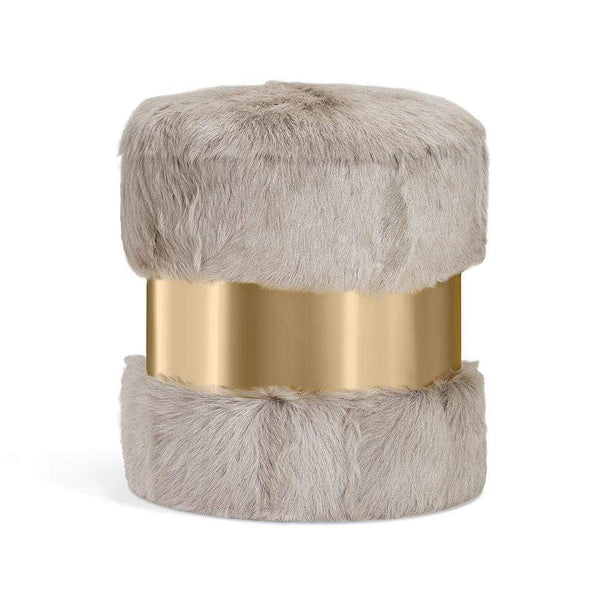 Interlude Home Scarlett Stool in Grey Goat Hair and Brass