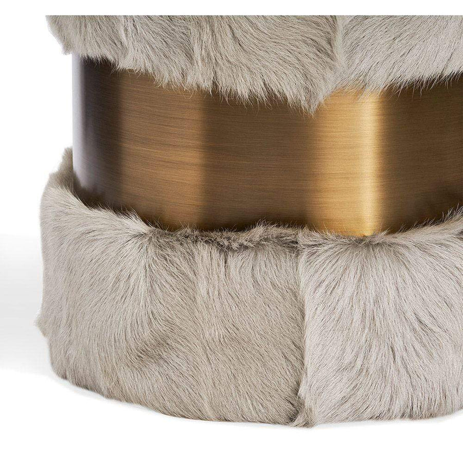 Interlude Home Scarlett Stool in Grey Goat Hair and Bronze