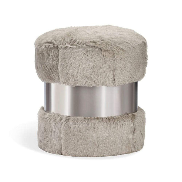 Interlude Home Scarlett Stool in Grey Goat Hair and Nickel