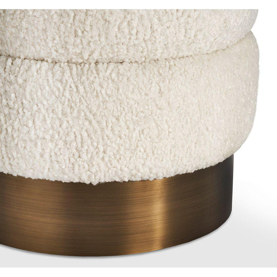 Interlude Home Charlize Stool in Boucle and Bronze