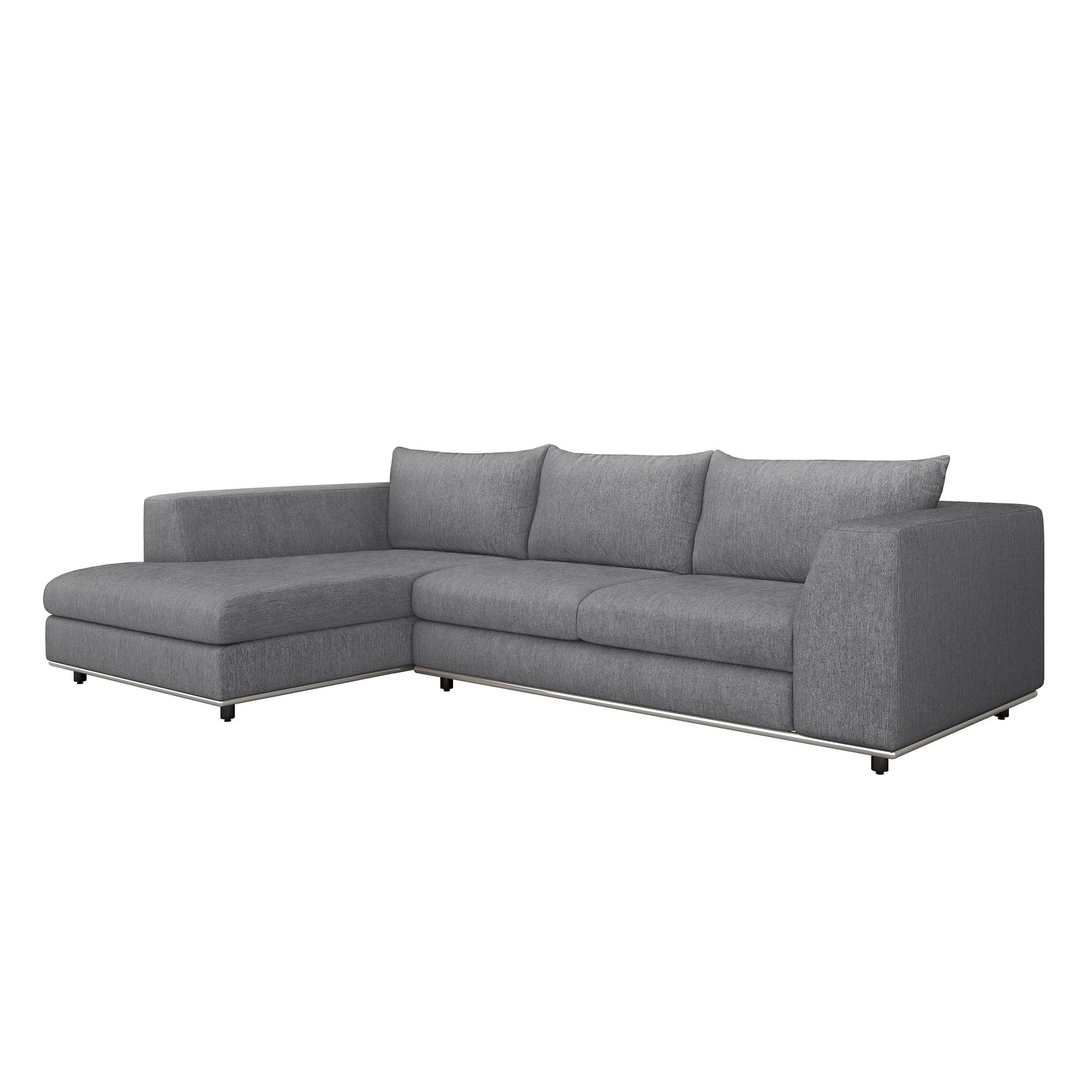 Interlude Home Interlude Home Comodo Left Chaise 2 Piece Sectional - Dark Gray 199018-3