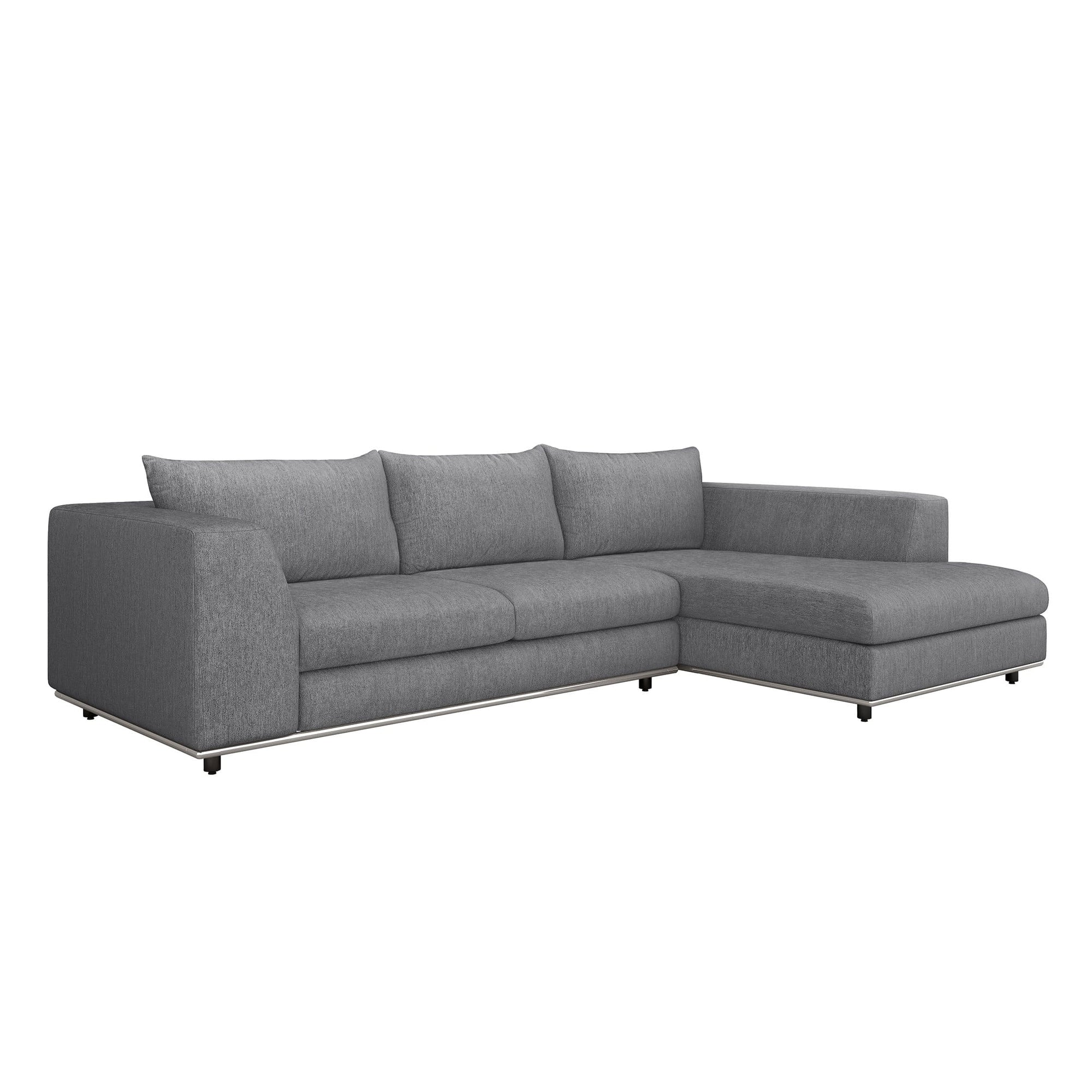 Interlude Home Interlude Home Comodo Right Chaise 2 Piece Sectional - Dark Gray 199019-3