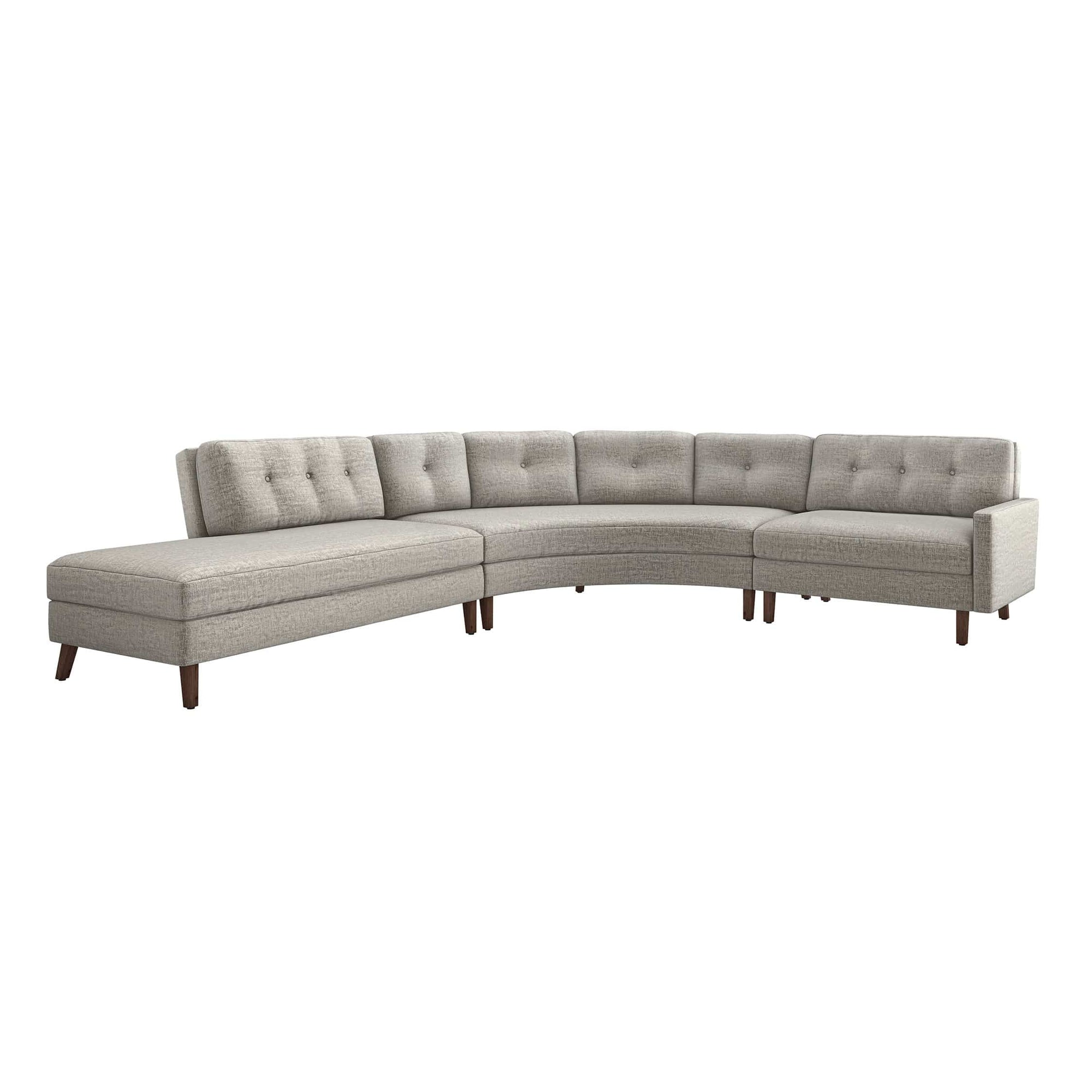 Interlude Home Interlude Home Aventura Left Chaise 3 Piece Sectional - Feather Gray 199020-4