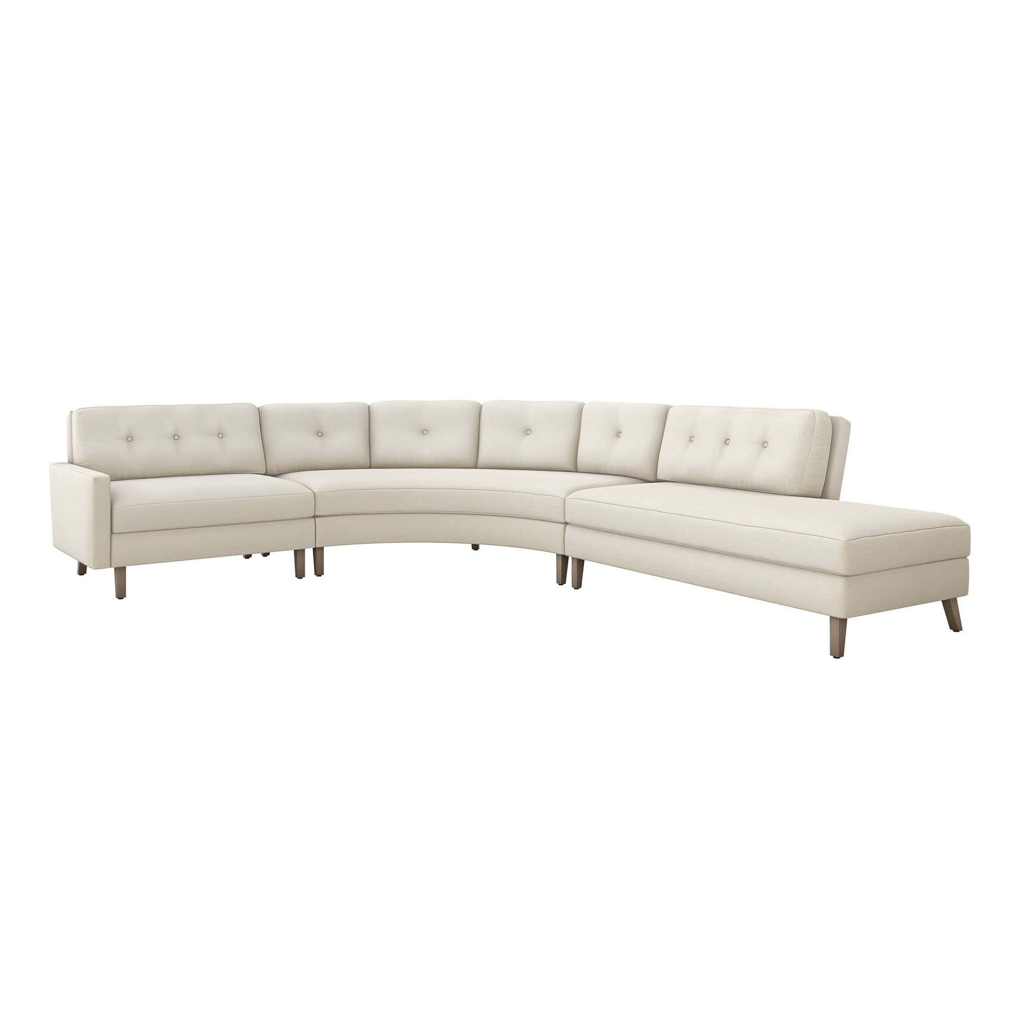 Interlude Home Interlude Home Aventura Right Chaise 3 Piece Sectional - Ivory 199021-1