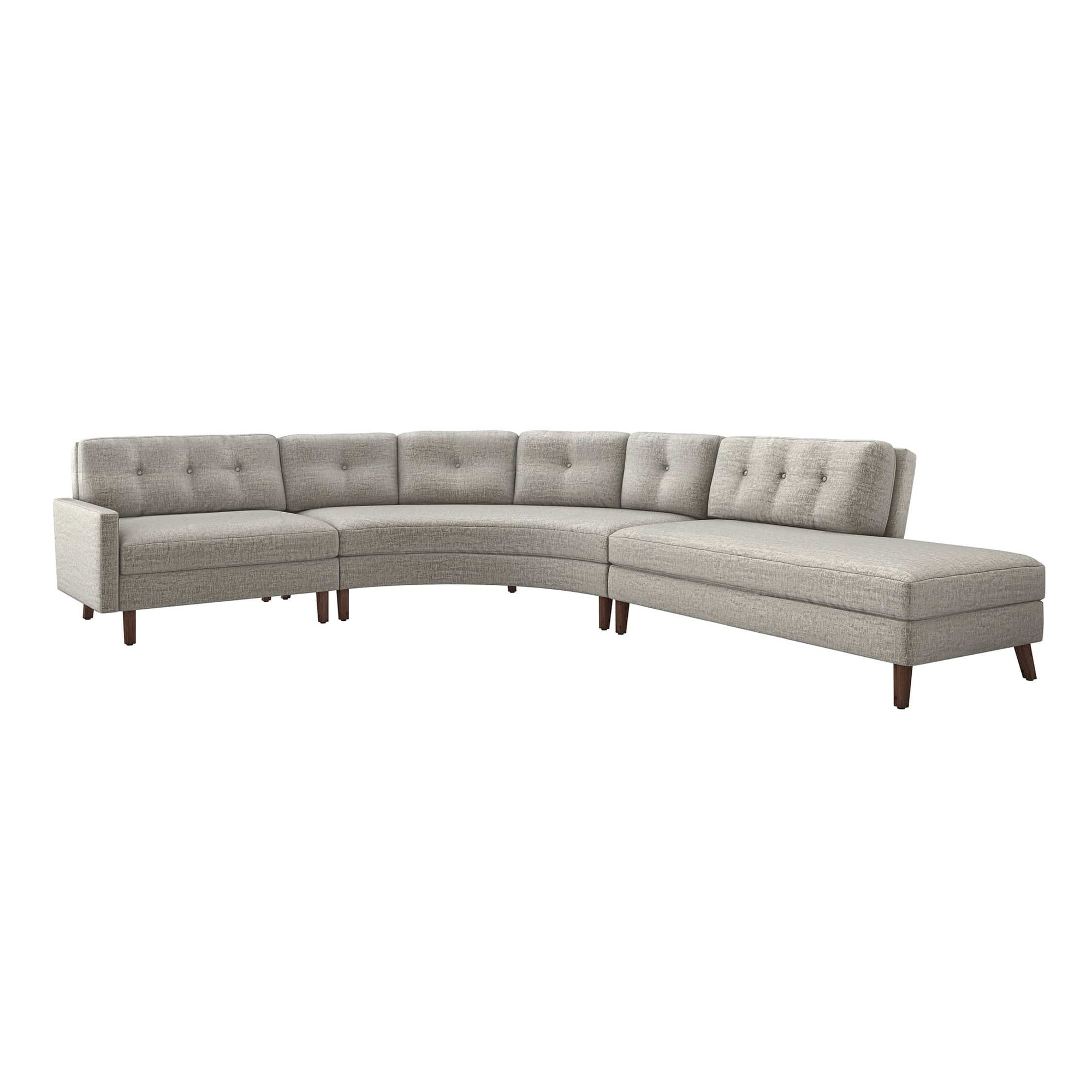 Interlude Home Interlude Home Aventura Right Chaise 3 Piece Sectional - Feather Gray 199021-4