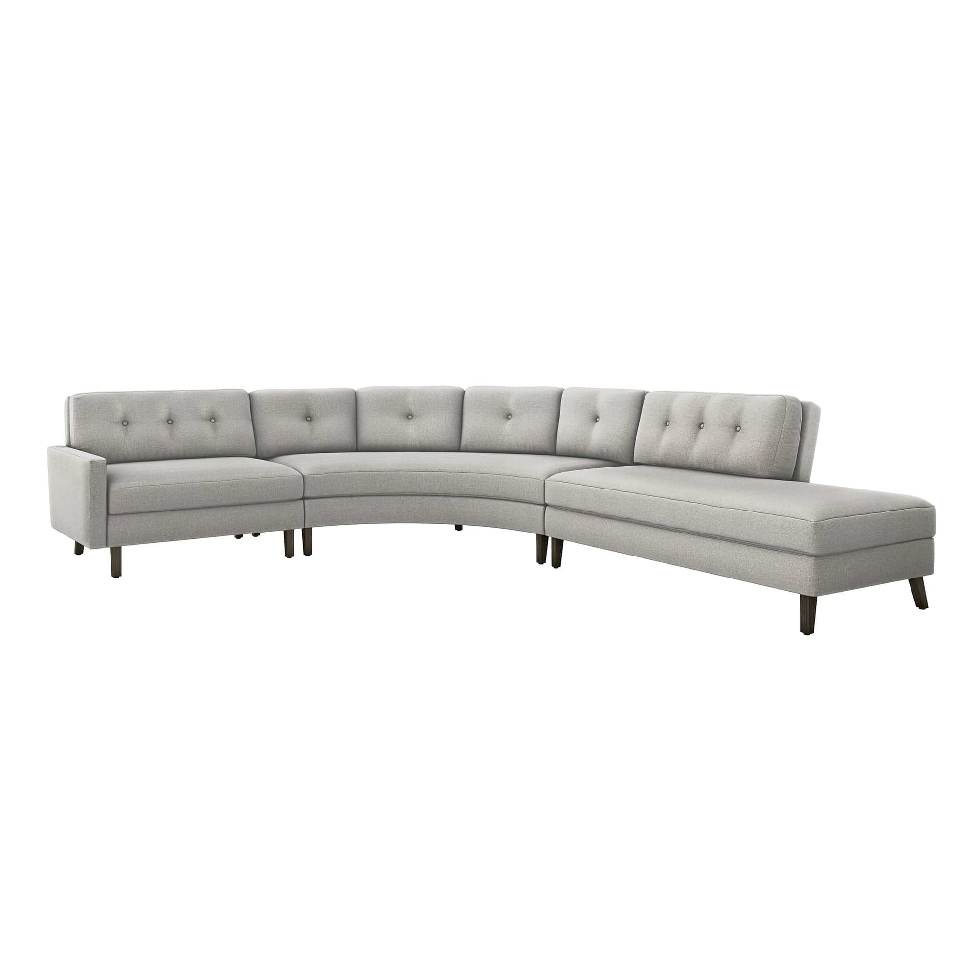 Interlude Home Interlude Home Aventura Right Chaise 3 Piece Sectional - Light Gray 199021-6