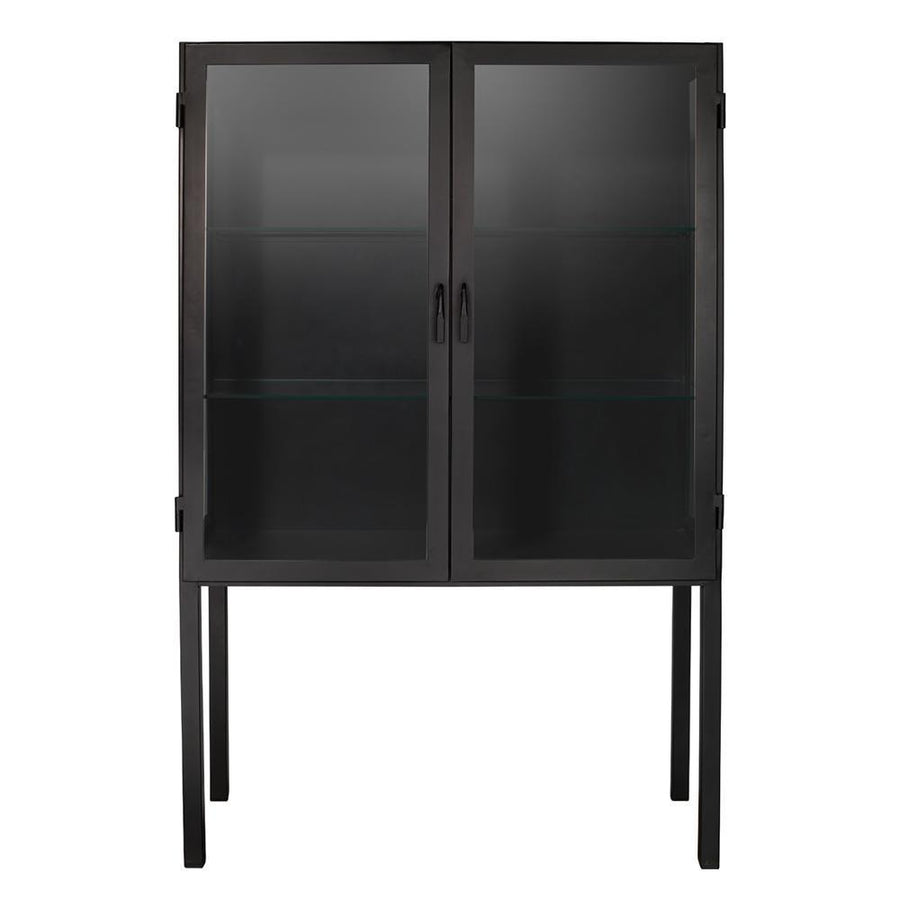 Jamie Young Chauncey Wide Curio Bar Cabinet in Black Iron and Clear Glass