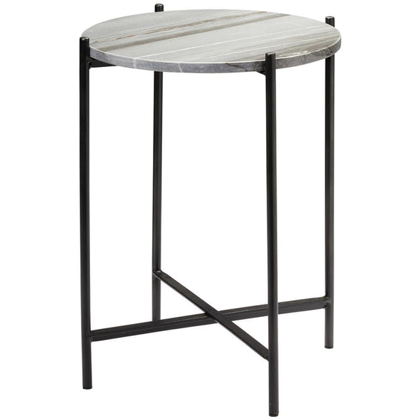 Jamie Young Jamie Young Domain Side Table in Gray Marble and Black Iron 20DOMA-STGR