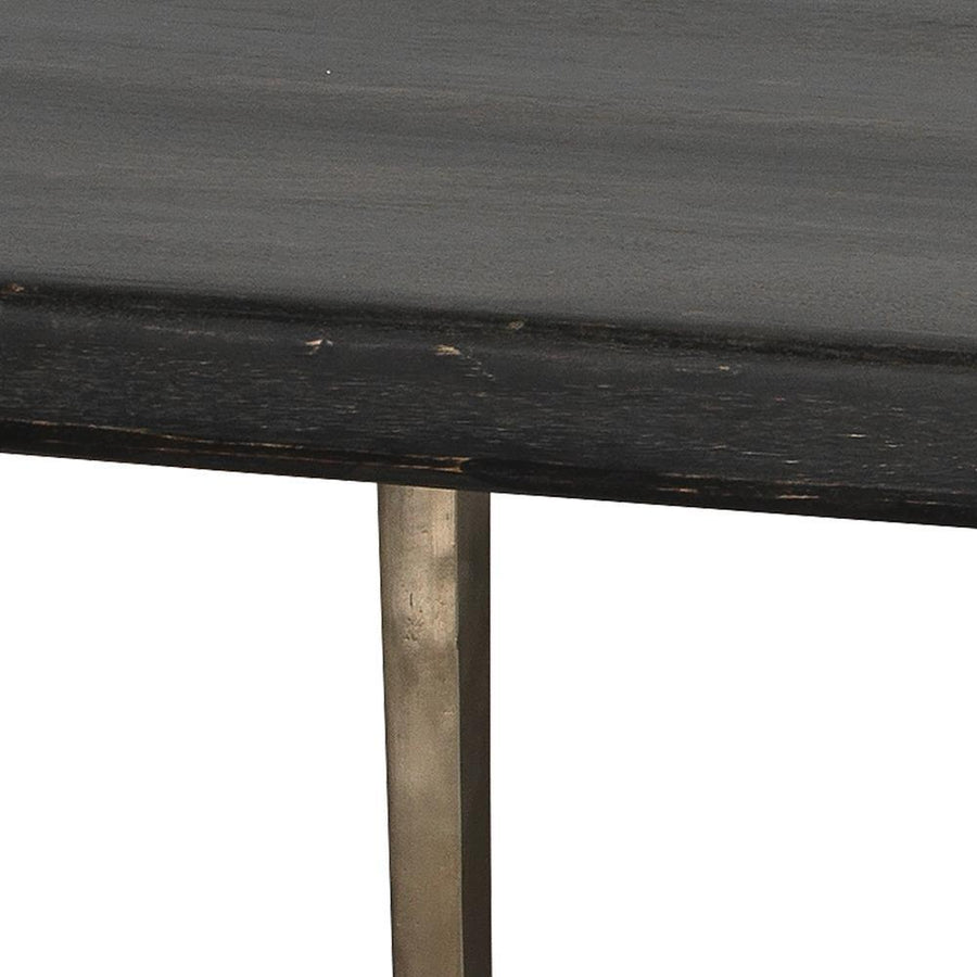 Jamie Young Farmhouse Dining Table in Dark Wood and Antique Silver Legs