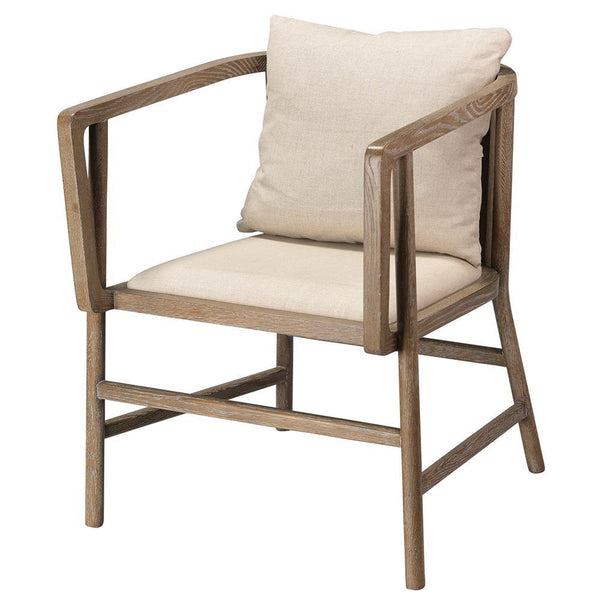 Jamie Young Grayson armchair in Gray Wood and Off White Linen