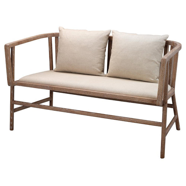 Jamie Young Grayson Settee in Off White Linen and Gray Washed Wood