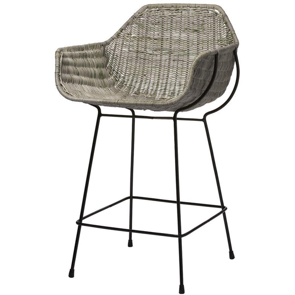 Jamie Young Nusa Counter Stool in Natural Rattan and Black Steel