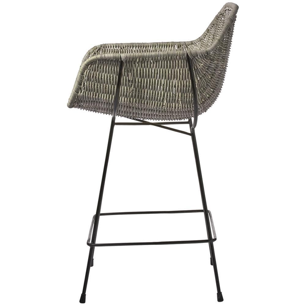 Jamie Young Jamie Young Nusa Counter Stool in Natural Rattan and Black Steel 20NUSA-CSNA