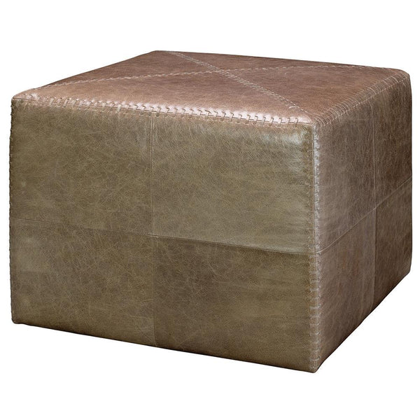 Jamie Young Large Ottoman in Taupe Leather