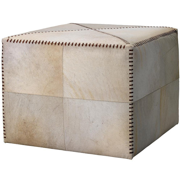 Jamie Young Large Ottoman in White Hide