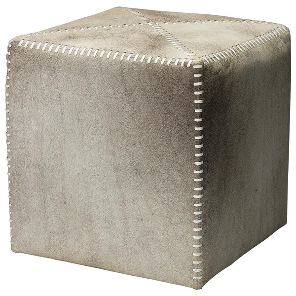 Jamie Young Small Ottoman in Gray Hide