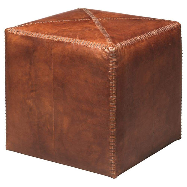 Jamie Young Small Ottoman in Tobacco Leather