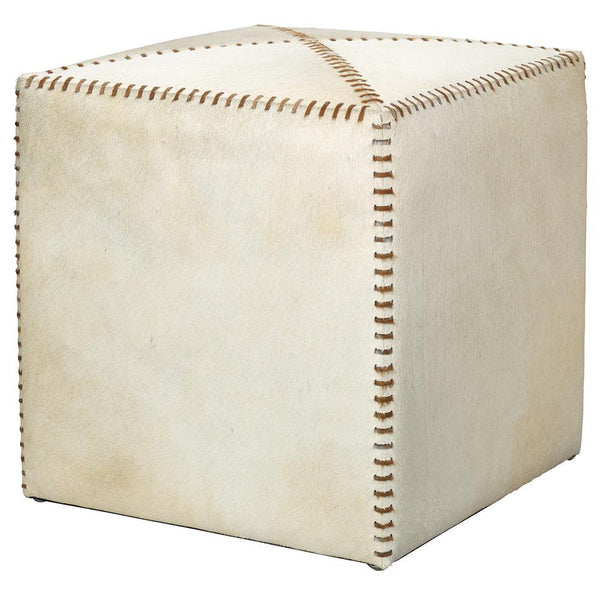 Jamie Young Small Ottoman in White Hide