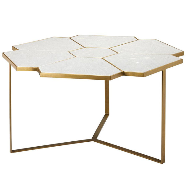 Jamie Young Perennial Coffee Table in White Marble and Brass Metal