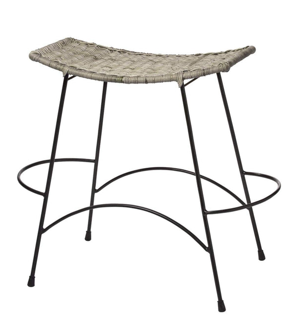 Jamie Young Wing Counter Stool in Natural Rattan and Black Steel