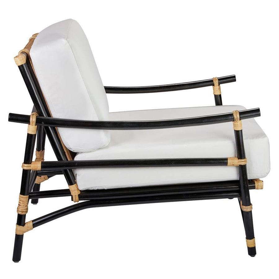 Jamie Young Xanadu Lounge Chair in Black and Cream Rattan