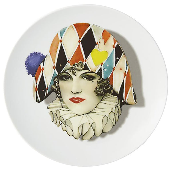 Love Who You Want Miss Harlequin Dessert Plate by Christian Lacroix