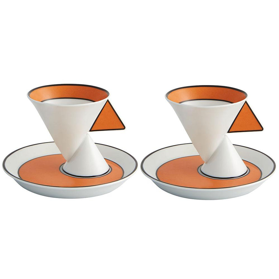 Vista Alegre Vista Alegre Jazz Set of 2 Coffee Cups & Saucers in White & Orange 21122124