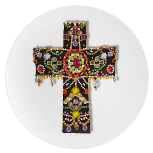 Vista Alegre Vista Alegre Love Who You Want Black Cross Dessert Plate by Christian Lacroix 21124768