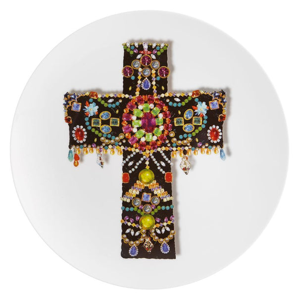 Love Who You Want Black Cross Dessert Plate by Christian Lacroix