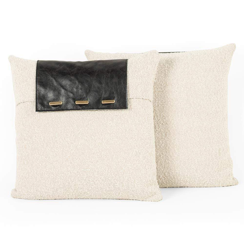 Four Hands Four Hands Boucle And Leather Pillow - Set Of 2 - Ivory and Black 225734-001