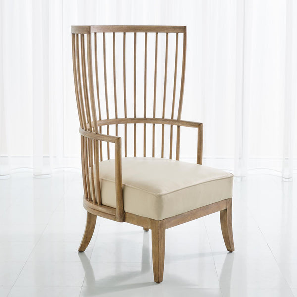 Spindle Wing Chair - Beige Leather