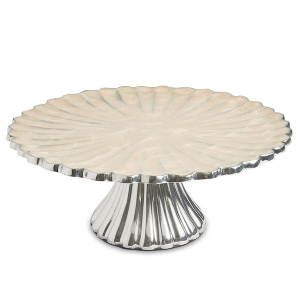 "Julia Knight Peony 10"" Cake Stand in Snow"