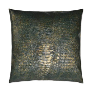 D.V. Kap D.V. Kap Gilded Gator Pillow - Available in 2 Colors Emerald 2822-E