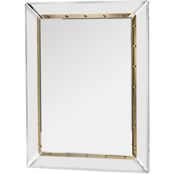 Interlude Home Interlude Home Holden Wall Mirror - Clear - Brushed Brass - Plain Mirror 318044