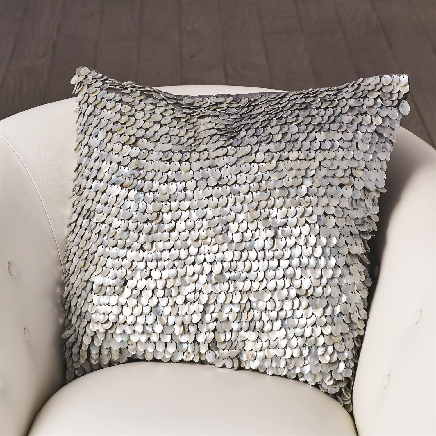 Global Views Global Views Mother of Pearl Beaded Pillow - Grey AS7.90043