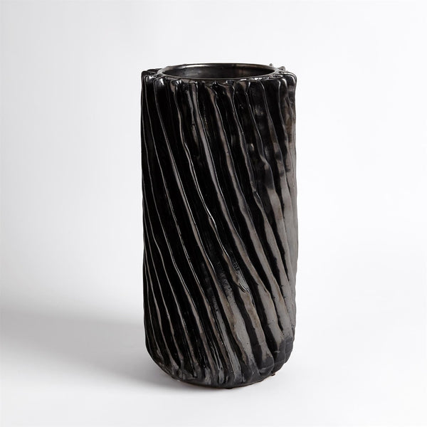 Global Views Radiator Swirl Vase Large - Gunmetal
