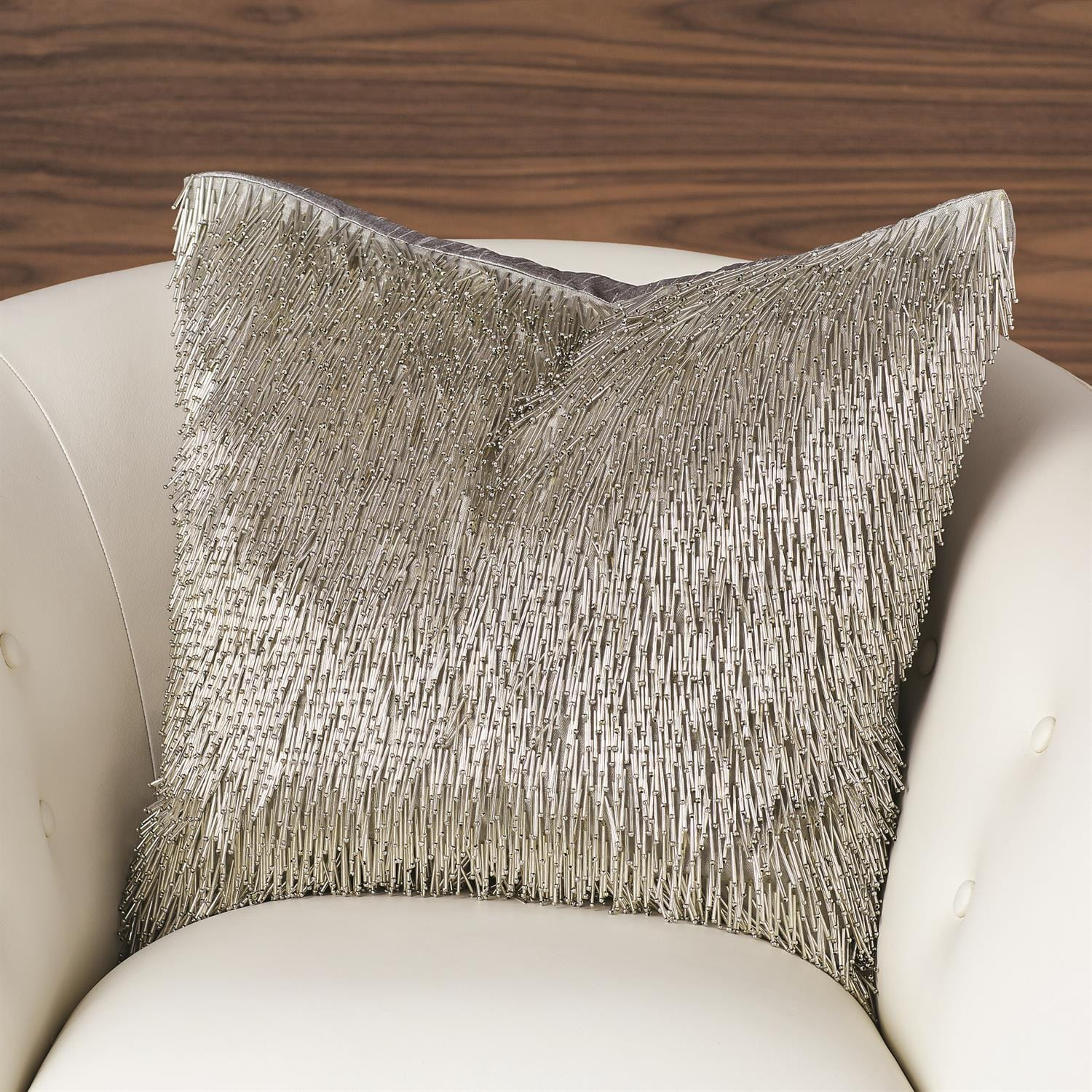 Global Views Global Views Shimmy Fringe Pillow - Silver AS9.90003