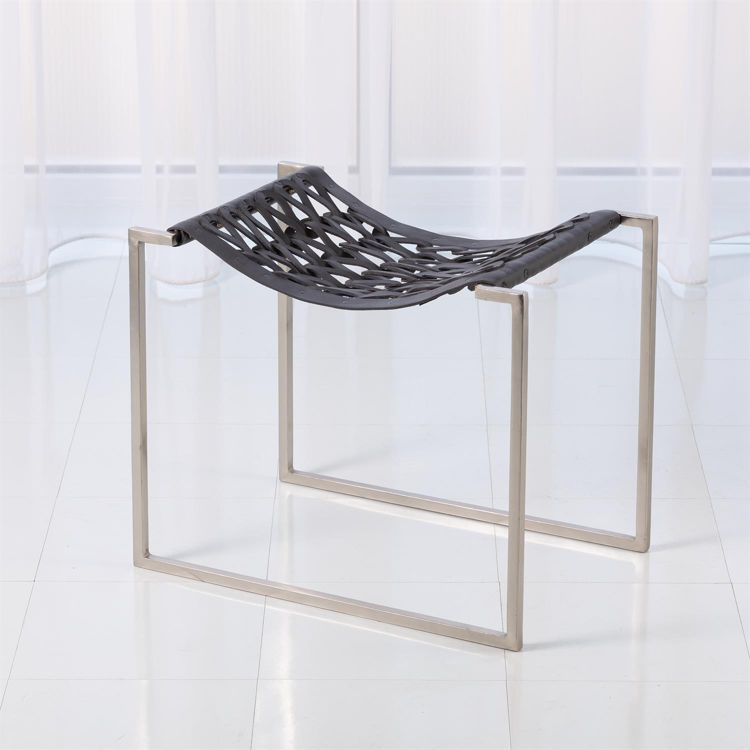 Global Views Global Views Knit & Pearl Stool - Nickel & Grey JG9.90001