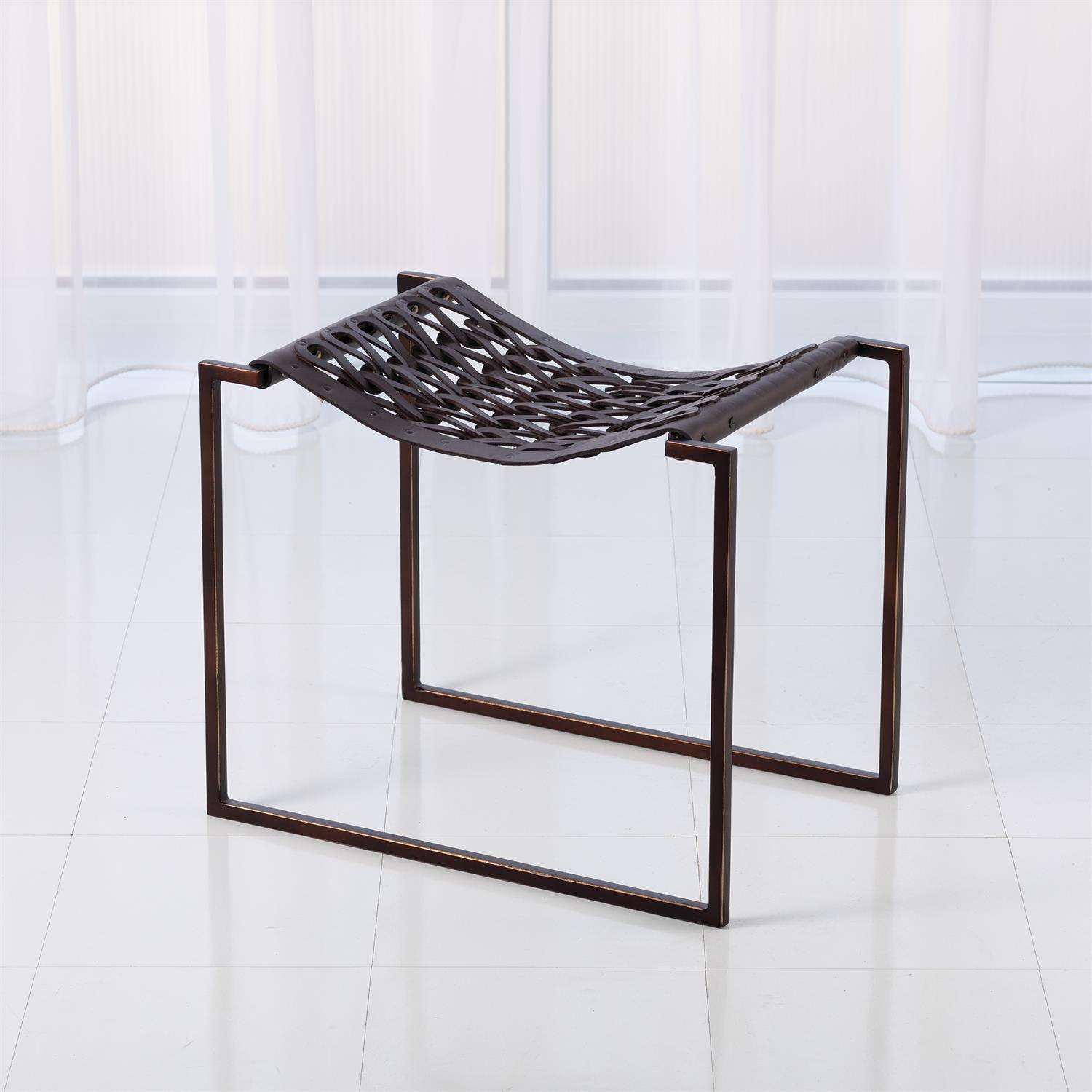 Global Views Global Views Knit & Pearl Stool - Bronze & Brown JG9.90003