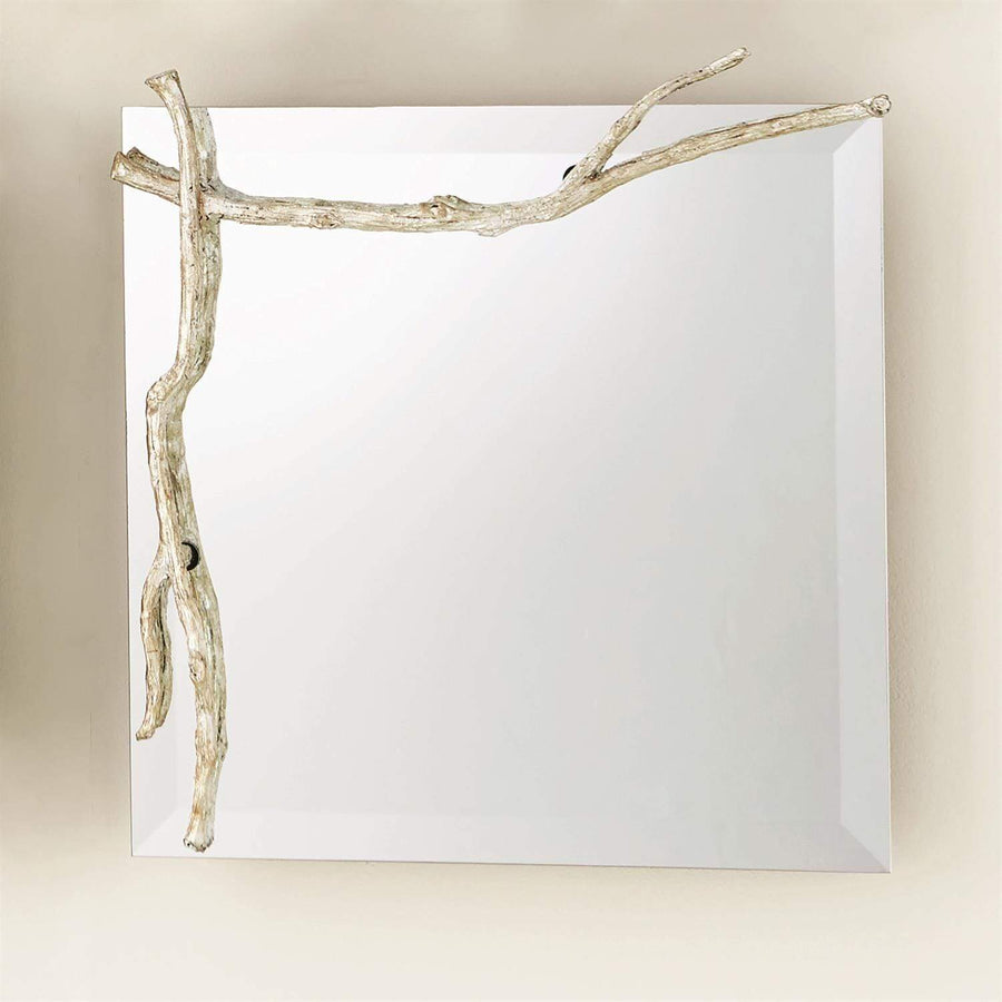Global Views Twig Mirror-Silver Leaf