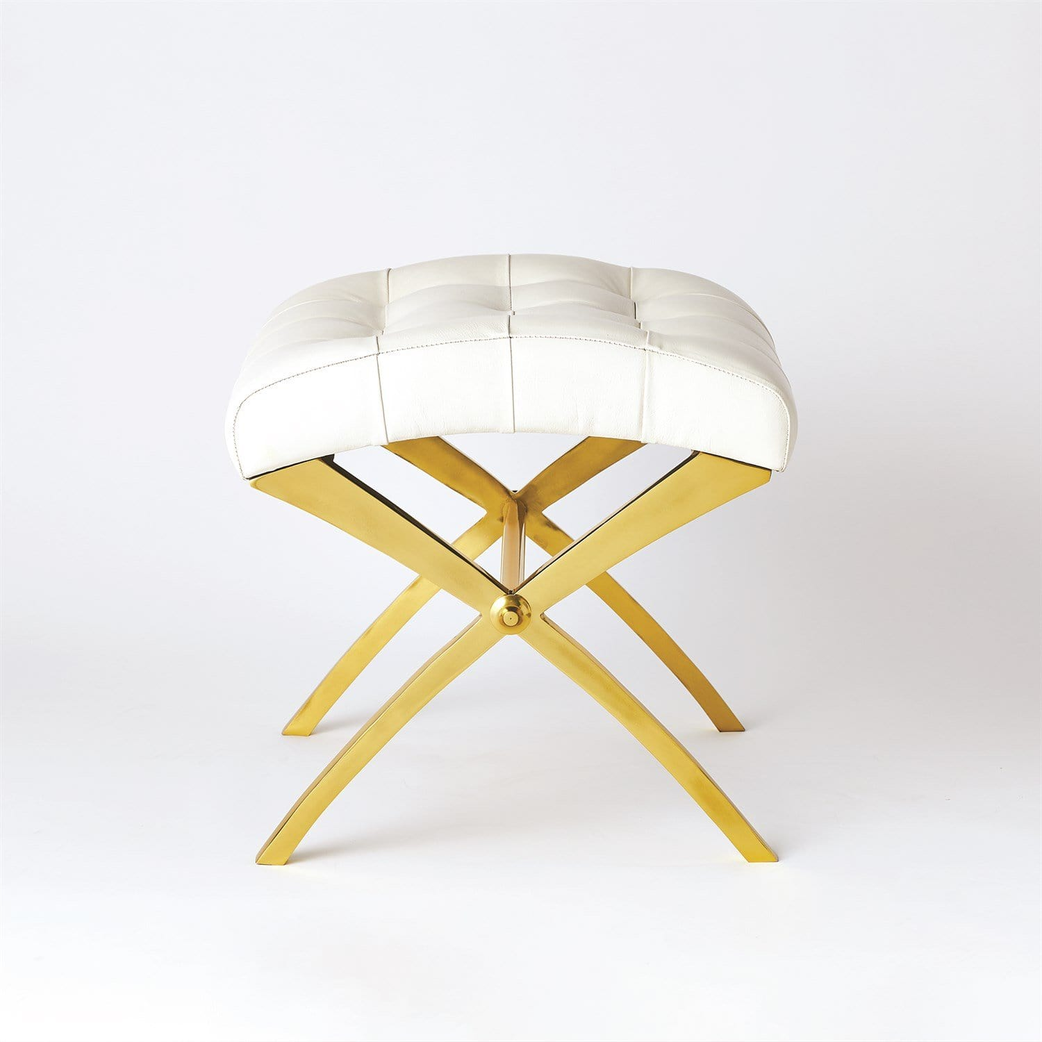 Global Views Global Views Scarlet Stool - Brass & White JB9.90127