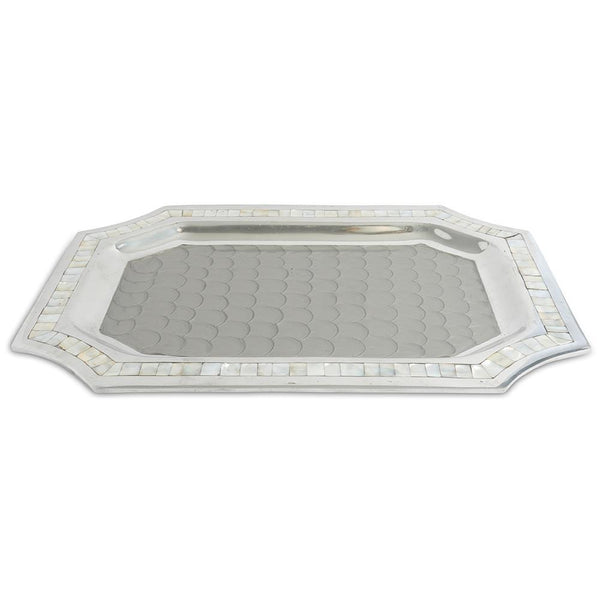 "Julia Knight Classic 20"" Octagonal Tray in Platinum"