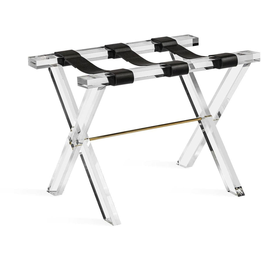 Interlude Home Ritz Luggage Stand - Clear - Shiny Brass - Black