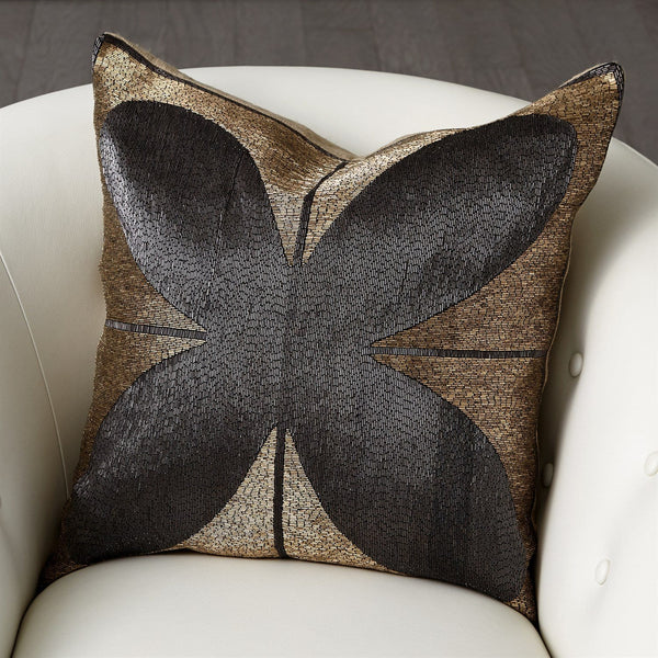 Global Views Blossom Beaded Pillow in Gold and Black