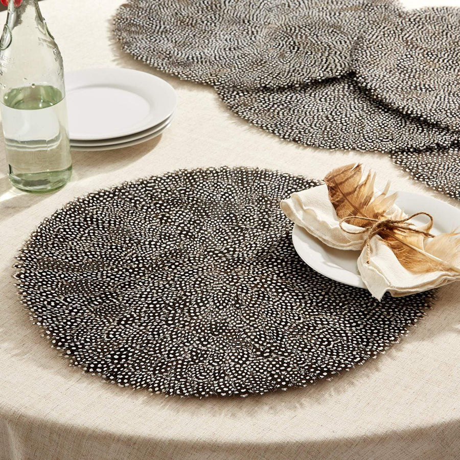 Two's Company Set of 6 Guinea Feather Placemats | Alchemy Fine Home