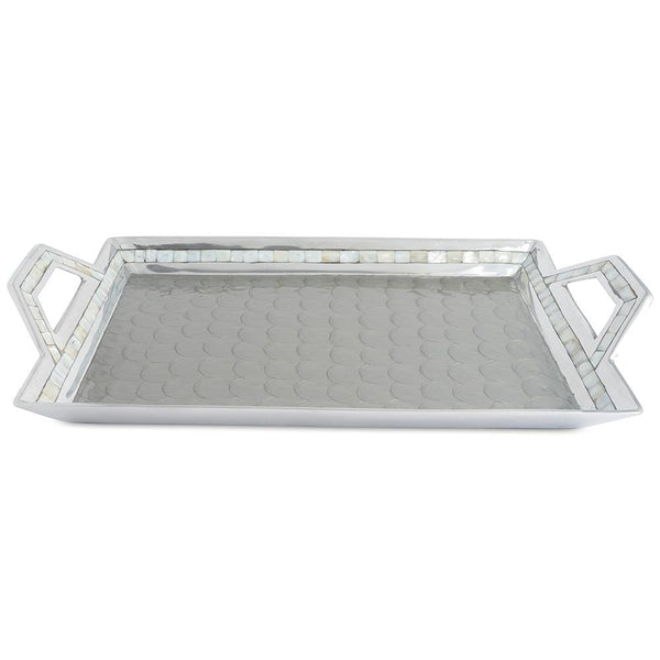 "Classic 21"" Beveled Tray in Platinum"